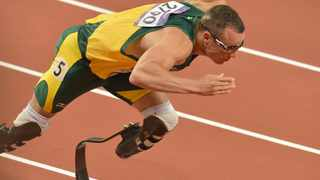 LONDON, ENGLAND - AUGUST 5, Oscar Pistorius of South Africa in the mens 400m semi final during the evening session of athletics at the Olympic Stadium on August 5, 2012 in London, England Photo by Roger Sedres / Gallo Images