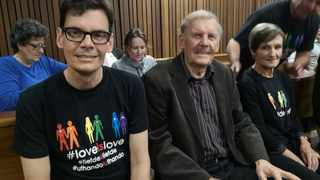 Laurie Gaum with his father Frits and mother Henda at the Gauteng High Court, Pretoria. Picture: Zelda Venter