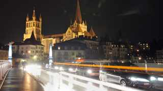 Lausanne's Cathedral lights are seen. One experiment was carried out in a test room using four microphones while another involved using the technology to map the complex architecture of Lausanne Cathedral.