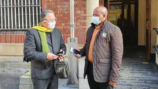 Leader of the opposition in the legislature, Cameron Dugmore (ANC) and his counterpart on the city council Xolani Sotashe outside Cape Town Central Police Station. Picture by Mwangi Githahu/Cape Argus