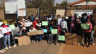 Learners at Filadelfia Secondary School protest against alleged sexual abuse and poor quality food at the school. Picture: Jacques Naude/African News Agency (ANA)