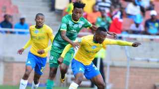 Lebohang Maboe of Mamelodi Sundowns and Matome Mabeba of Baroka FC tussle in their Telkom Knockout Cup Quaterfinal match. Photo: Kabelo Leputu/BackpagePix