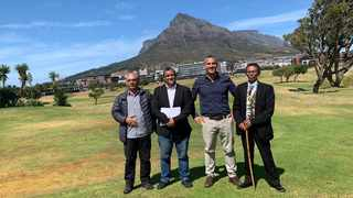 (Left to right) consultants Jeremy Jackson, Rudwaan Arendse, developer Jody Aufrichtig and leader of the Gorinhaiqua Cultural Council, and spokesperson for the First Nations Collective Zenzile Khoisan doing a site visit of the River Club. Picture: Marvin Charles/Cape Argus