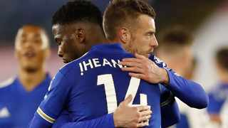 Leicester City's Kelechi Iheanacho and Jamie Vardy celebrate after their Premier League win over Crystal Palace. Picture: Andrew Boyers/Backpagepix