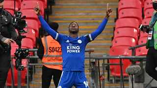 Leicester City's Nigerian striker Kelechi Iheanacho celebrates after scoring the opening goal of the English FA Cup semi-final football match between Leicester City and Southampton at Wembley Stadium in north west London on April 18, 2021. (Photo by NEIL HALL / POOL / AFP) / NOT FOR MARKETING OR ADVERTISING USE / RESTRICTED TO EDITORIAL USE