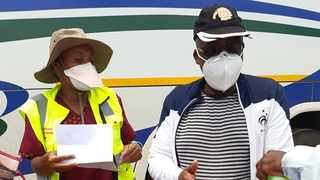 Limpopo Health MEC Dr Phophi Ramathuba and Home Affairs Minister Aaron Motsoaledi during a visit to the Beitbridge border post to monitor Covid-19 compliance. Picture: Facebook -Limpopo Department of Health