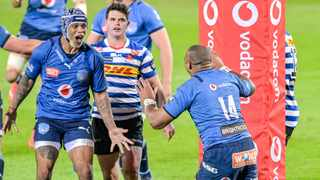 Lionel Mapoe of the Vodacom Bulls celebrating with Cornal Hendricks after scoring his try in the Currie Cup semi-final. Photo: Christiaan Kotze/BackpagePix