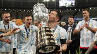 Lionel Messi of Argentina kisses the Copa America trophy after the Copa America final against Brazil at the Maracana Stadium in Rio de Janeiro last week. Photo: Andre Coelho/EPA