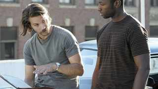Logan Marshall-Green (left) as Mac Conway with Jamie Hector as Arthur in a scene from the neo-noir crime drama, Quarry. Picture: Supplied