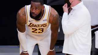 Los Angeles Lakers forward LeBron James after injuring his ankle. Picture: Robert Hanashiro/USA TODAY Sports via Reuters