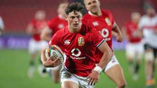Louis Rees-Zammit of the British and Irish Lions scores the opening try during their against the Lions at Ellis Park, Johannesburg on Saturday. Photo: Gavin Barker/BackpagePix