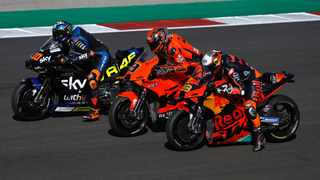 Luca Marini, Danilo Petrucci and Brad Binder in action over the weekend in Portugal. Picture: Pedro Nunes/Reuters