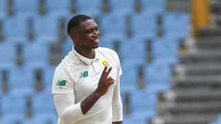 Lungi Ngidi during day one of the first Test between South Africa and the West Indies. Photo: Randy Brooks/AFP
