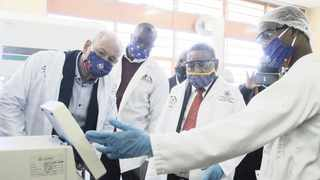 MINISTER of Higher Education Dr Blade Nzimande in a science lab where chemical engineering students are producing sanitisers at the Ga-Rankuwa campus of the Tshwane University of Technology.     Picture: Jacques Naude  African News Agency (ANA)