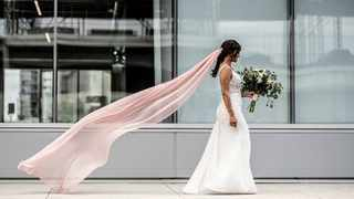 Make a statement with a pink wedding veil. Picture: Pinterest.