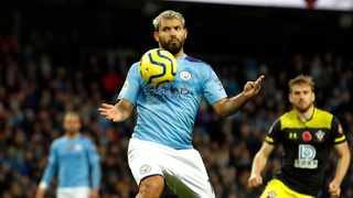 Manchester City's Sergio Aguero in action during the English Premier League soccer match against Southampton at The Etihad Stadium on Saturday. Photo: Martin Rickett/AP