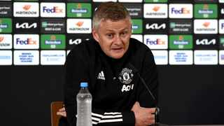 Manchester United manager Ole Gunnar Solskjaer speaks during a press conference ahead of Wednesday's Europa League final against Villarreal. Photo: UEFA/Handout via Reuters