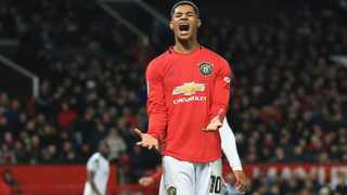 Manchester United's Marcus Rashford has been pressing the British government not to stop a meal voucher program at the end of the school term in July. Picture: Jon Super/AP
