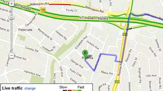 Map show Google maps live traffic feed, the green lines show free flowing traffic, while the red line show slow traffic. Picture. Google Maps