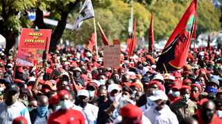 Members of the EFF march to the offices of the South African Health Products Regulatory Authority (SAHPRA) to demand that the organisation speed up the approval of Russias Sputnik vaccine. Picture: Thobile Mathonsi