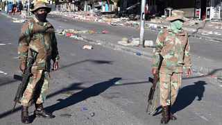 Members of the South African National Defence Force (SANDF) were deployed in Alexandra township in Gauteng on Tuesday as rampant looting continued in the province. Picture: Elmond Jiyane/GCIS