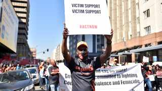 Men and women march through the streets of the Pretoria CBD yesterday to commemorate Women's Month and denounce gender-based violence. Picture: Thobile Mathonsi/African News Agency (ANA)
