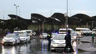 Metro police and traffic officials held a roadblock outside the Bellville Taxi rank searching taxis. Picture: Leon Lestrade/African News Agency/ANA