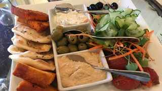 Mezze platter at the Oyster Box with a delicious selection of vegetables accompanying the dips.