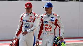 Mick Schumacher (right) has an uneasy partnership with Haas team-mate Nikita Mazepin. File picture: Mazen Mahdi / AFP.