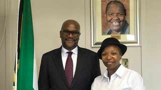Minister of Sports, Arts and Culture Nathi Mthethwa and actress Vatiswa Ndara. Picture: Twitter