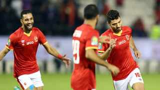 Mohamed Sherif of Al Ahly celebrates with teammates after scoring the opening goal during their CAF Super Cup match against Berkane held at the Jassim Bin Hamad Stadium in Doha on Friday. Photo: BackpagePix