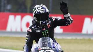 Monster Energy Yamaha MotoGP's Maverick Vinales reacts after qualifying in pole position. Photo: Yves Herman/Reuters