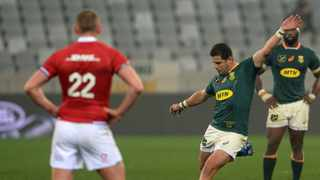 Morne Steyn kicks the winning penalty in the third Test against the British Lions. Photo: Ryan Wilkisky/BackpagePix