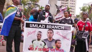 Mourners pay tribute to footballer Senzo Meyiwa at the Durban City Hall in October 2014. File photo: Giordano Stolley
