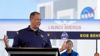 NASA Administrator Jim Bridenstine answers a question during a countdown clock briefing for the SpaceX Demo-2 mission at Kennedy Space Center in Cape Canaveral, Florida. Picture: David J. Phillip/AP