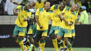 NELSPRUIT, SOUTH AFRICA - OCTOBER 08, Bafana players celebrates during the African Cup of Nations qualifier match between South Africa and Sierra Leone from Mbombela Stadium on October 08, 2011 in Nelspruit, South Africa Photo by Lefty Shivambu / Gallo Images