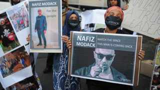 Nafiz Modack supporters outside the Cape Town Magistrate's Court on Friday morning. Picture: Henk Kruger/African News Agency (ANA)