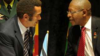 New SADC Chairperson President Ian Khama being congratulated by Lesotho's Prime Minister Phakalitha Mosisili during the 35th SADC Summit in Gaborone Botswana. 17/08/2015 Kopano Tlape GCIS