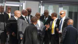 Newly elected Lesotho prime minister Thomas Thabane seen with a phalanx of private security guards. Photo: Justice Kalebe