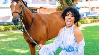 Nomzamo Mbatha and her horse Zulu. Picture: Instagram