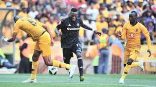 Orlando Pirates' Augustine Mulenga (centre) is challenged by Kaizer Chiefs defenders Mario Booysen (left) and Godfrey Walusimbi when the two Soweto giants met in the PSL last month. Photo: Samuel Shivambu BackpagePix