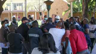 Parents at Laerskool Theresapark descended on the school yesterday demanding the removal of the principal. Picture: Jacques Naude/African News Agency (ANA)