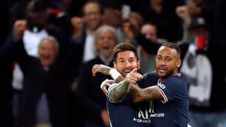 Paris St Germain's Lionel Messi celebrates celebrates with Neymar after scoring their second goal in their Champions League game against Manchester City on September 28. Photo: Gonzalo Fuentes/Reuters