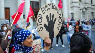 People living at Cissie Gool House picket outside the Western Cape High Court on Thursday morning. Picture: Henk Kruger/African News agency(ANA)