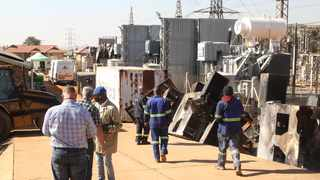 People work on repairing the Wapadrand substation. Picture: Jacques Naude/African News Agency (ANA)