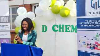 PhD student Nomandla Ngcoya, 28, opened a detergents and cosmetics manufacturing plant in Pietermaritzburg. Picture: Supplied.