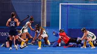 Phumelela Mbande of South Africa makes a save against Ireland. Photo: Phil Noble/Reuters