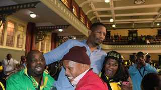 Phumlani Mkolo lifted by his supporters following the announcement of his victory. Photo: ANA