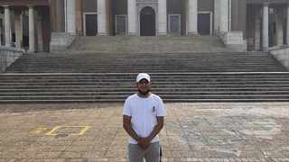 Pietermaritzburg resident Tariq Mohabir pictured at Sara Baartman Hall at the University of Cape Town's upper campus just days before wildfires gutted parts of the same building.