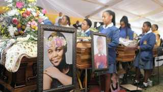 Pinetown Girls' High School pupils pay tribute to murdered Grade 11 pupil Ayakha Jiyane and her siblings Siphesihle, Khwezi and Kuhlekonke Mpungose, at their funeral yesterday. Bongani Mbatha African News Agency (ANA)